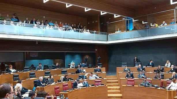 Unos 200 familiares y allegados de las personas asesinadas han asistido al debate en el Legislativo y han aplaudido tras ser aprobada la norma. (JAVIER BERGASA)