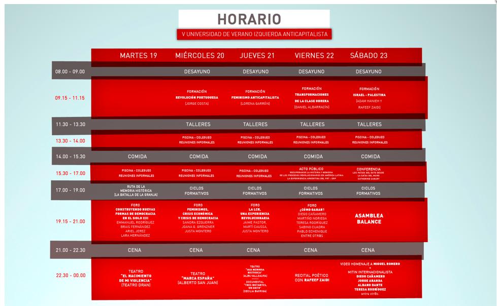 Universidad de Verano de Izquierda Anticapitalista 2014