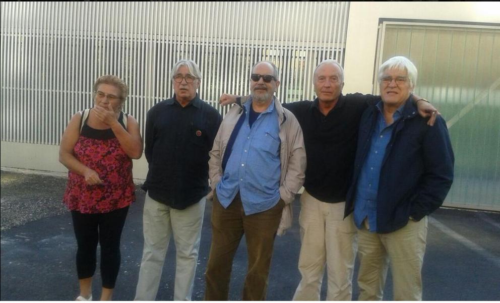 Frente a la Antigua, Cárcel de Palencia. Carmen Estébanez, Luis Roncero, Antonio Pérez, Francesc Tubau y Chato Galante.