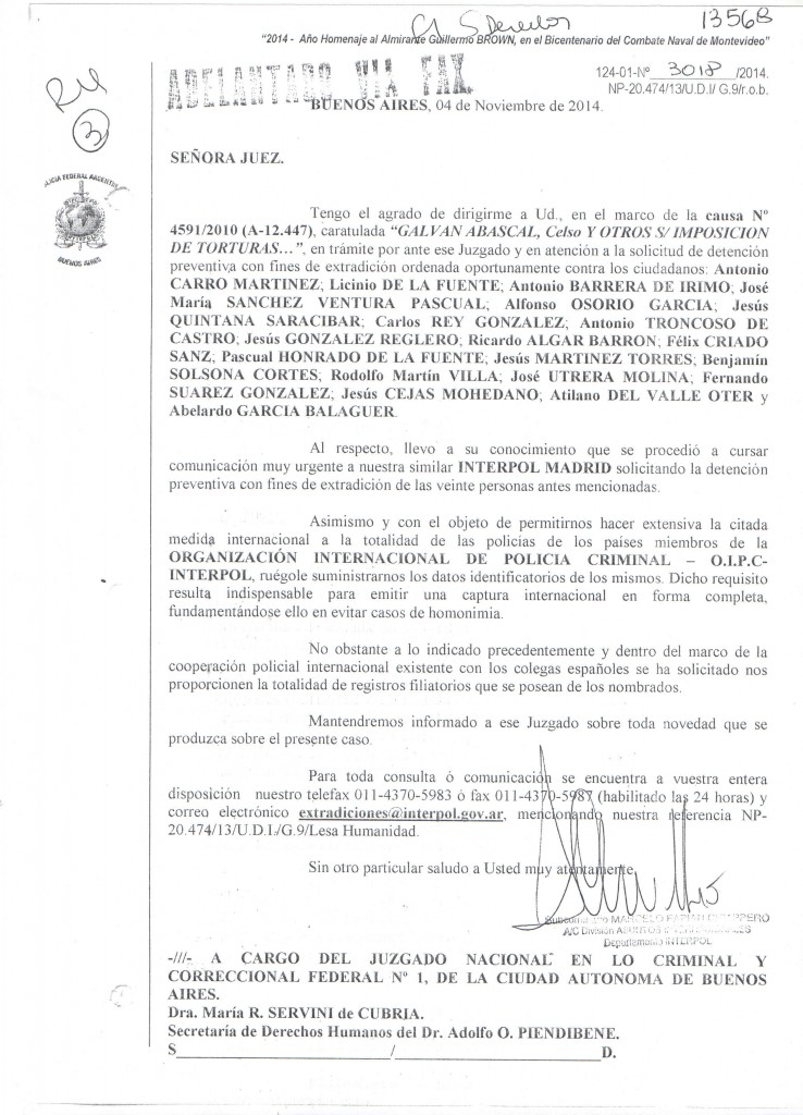 ORDEN INTERPOL 20 imputados